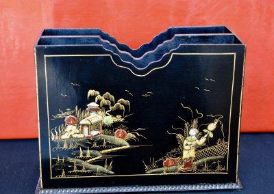 English lacquered chinoiserie magazine rack. c.1930