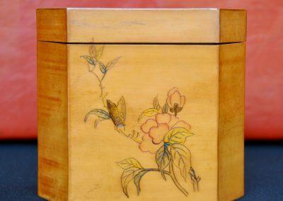 Chinese satinwood tea caddy. Signed, c.1900.