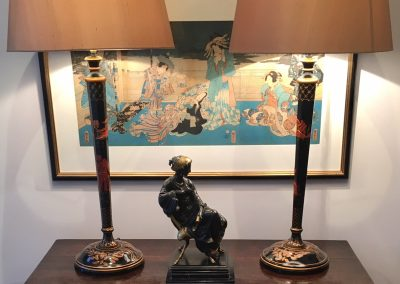A Pair of Chinoiserie Lacquered Lamps (Shades not included)