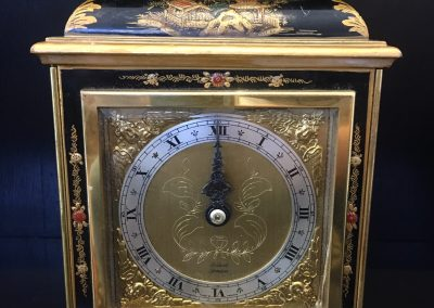 Chinoiserie lacquered Clock by Elliott London