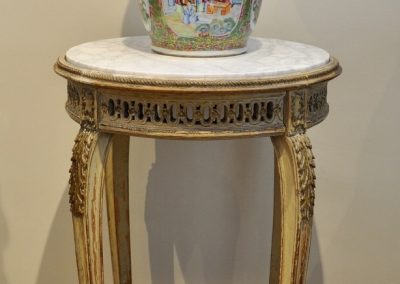 A French painted table with marble top c.1880.