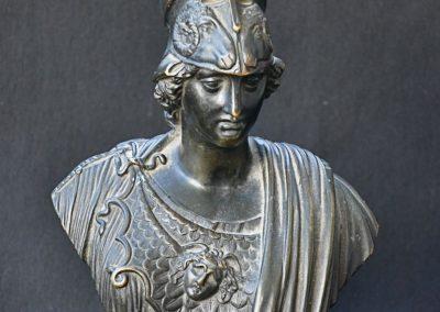 Bronze bust of Athena on brass base.