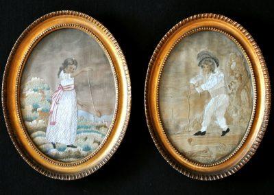 A pair of Regency period needleworks in original frames.