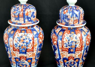 A pair of Iidded Imari vases c.1880.
