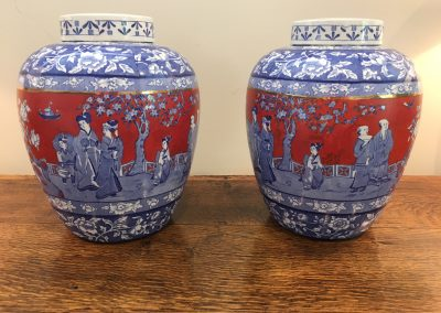 A Pair of English Cauldron Lidded Pots c.1890