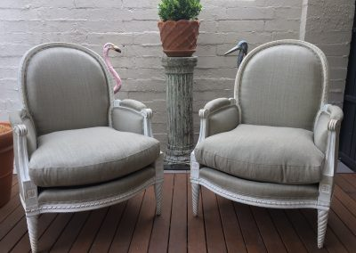 A Pair of French Bergere with Painted Frames c.1890