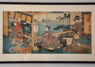 Japanese triptych by Kunisada c.1845.
