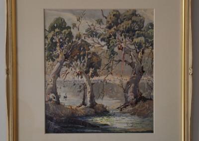 Herbert Barringer (1882-1960) Swans on the Murray 1946.