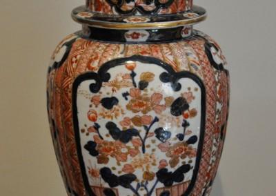An Imari lidded vase on stand c.1860.