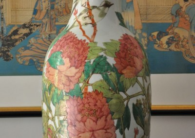 A 19th century vase decorated with birdds and peonies 60cm c.1880.