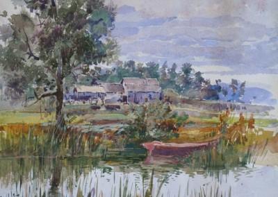 Benjamin Edwin Minns (1863-1937) Estuary scene,1890. W'clr 34x24cm