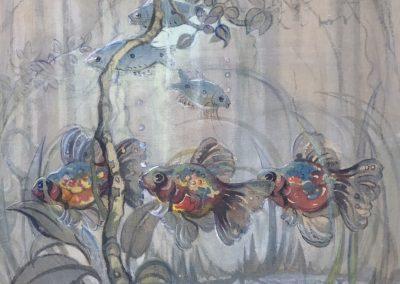 Gwendoline L'Avance Barringer, Watercolour, 'Goldfish' 48x41cm c.1920