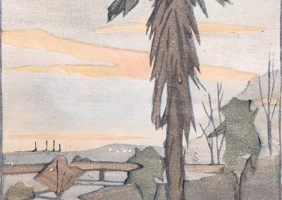 Mary P. Harris 'Nocturne' Elder Gardens, Woodcut 25x18cm