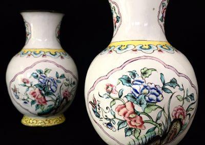 A pair of 19th Century Canton enamel Vases H.11cm