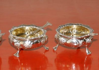A set of four Sterling Silver Salts with spoons. London 1890.