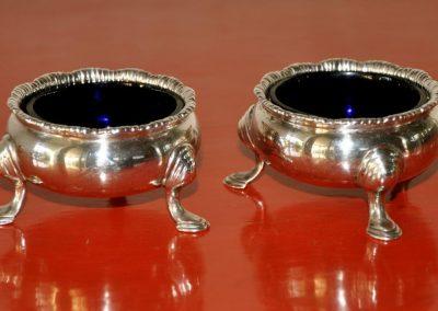 Pair of Sterling Silver Salts. London 1736.