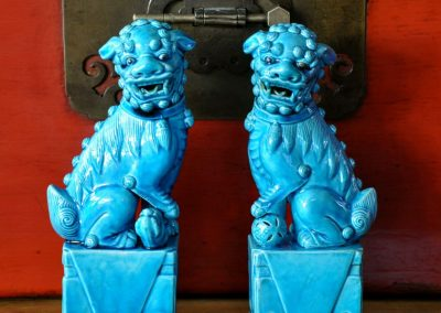 Pair of Chinese studio pottery temple dogs.
