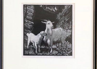 Sir Lionel Arthur Lindsay (1874–1961) 'White Goat' 15X14.5cm Wood engraving.