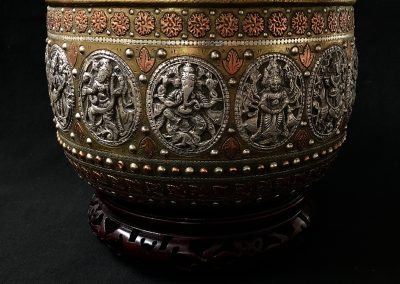 An Indian Brass Copper & Silver Jardiniere on stand c.1900.