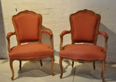 A pair of French chairs with cherrywood frames. c.1930
