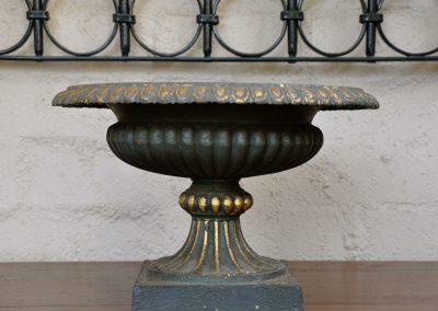 A cast iron urn.
